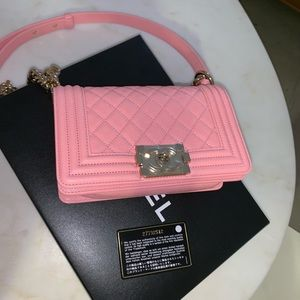 Authentic CHANEL Baby Pink Caviar Small Boy